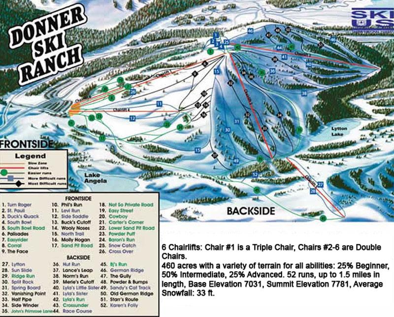 donner ski ranch lake tahoe map image