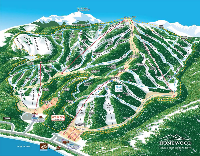 homewood mountain resort lake tahoe map image