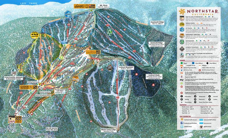 northstar california ski resort lake tahoe map image