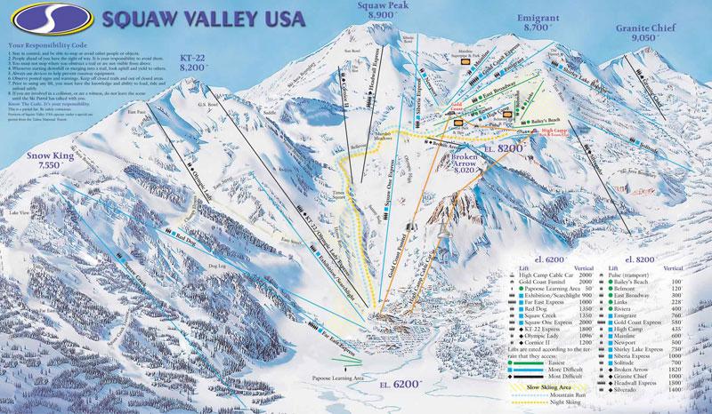 squaw valley ski resort lake tahoe map image
